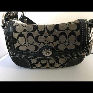 Coach 10983 Handbag Black & Grey Jacquard Logo.